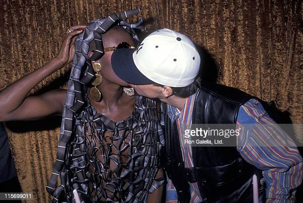 Singer Grace Jones and singer Mark Wahlberg attend Grace Jones' 45th Birthday Party on May 20 1993 at Le Bat Bar in New York City