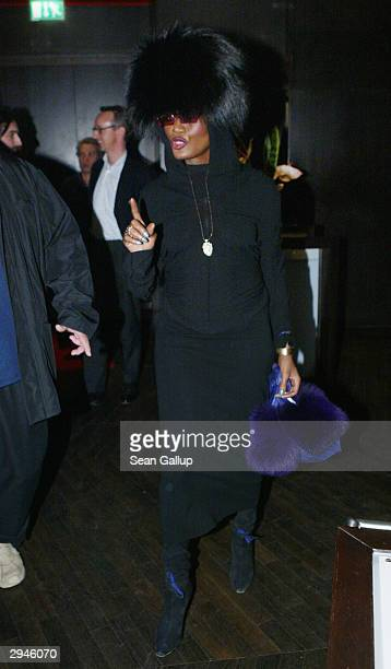 Singer Grace Jones arrives at the VOX restaurant February 7 2004 in Berlin Germany Jones made a surprise appearance in Berlin to view films at the...