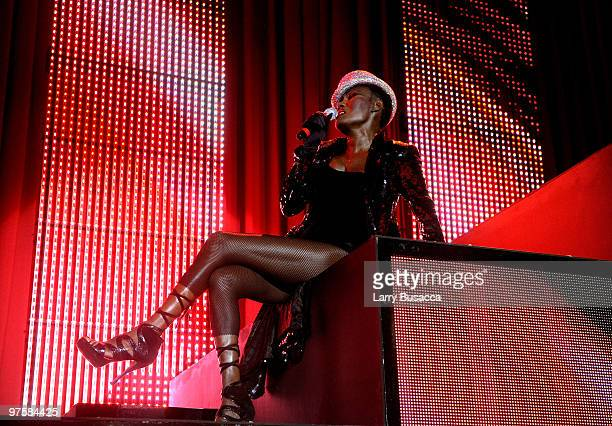 Singer Grace Jones performs during the 18th Annual Elton John AIDS Foundation Academy Award Party at Pacific Design Center on March 7 2010 in West...