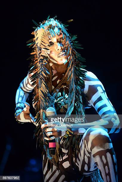 Singer Grace Jones performs onstage during the FYF Festival at Los Angeles Sports Arena on August 28 2016 in Los Angeles California