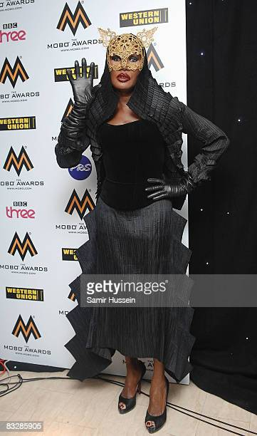 Singer Grace Jones poses at the MOBO Awards 2008 held at Wembley Arena on October 15 2008 in London England