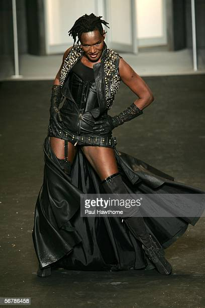 Singer Grace Jones walks the runway at the Diesel Fall 2006 fashion show during Olympus Fashion Week at Hammerstein Ballroom February 8 2006 in New...