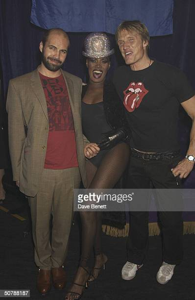 Singer Grace Jones with actors Dolph Lundgren and Billy Zane at his birthday party held at The Shepherds Bush Empire on 11th March 2004 in London