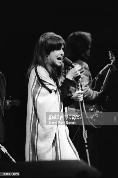 Singer Grace Slick and guitarist Jorma Kaukonen of Jefferson Airplane perform onstage at the Monterey International Pop Festival on June 17 1967 in...