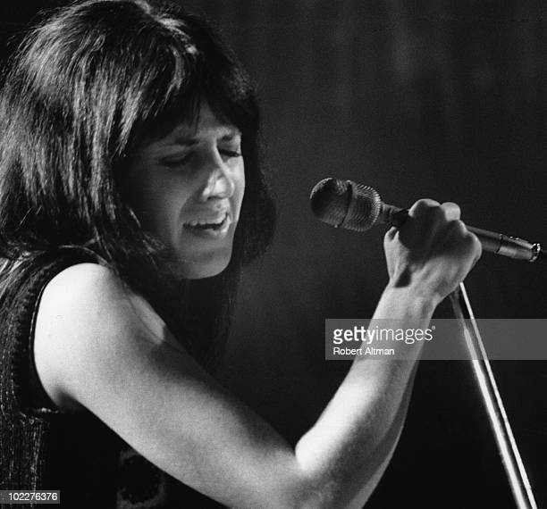 Singer Grace Slick of the Jefferson Airplane performs onstage at The Family Dog At The Great Highway on February 4 1970 in San Francisco California