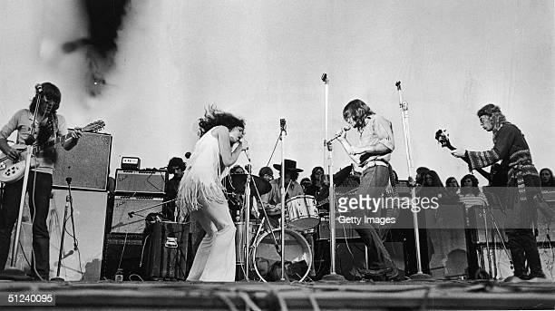 1969 Singer Grace Slick performs with the American rock group Jefferson Airplane at Woodstock music festival
