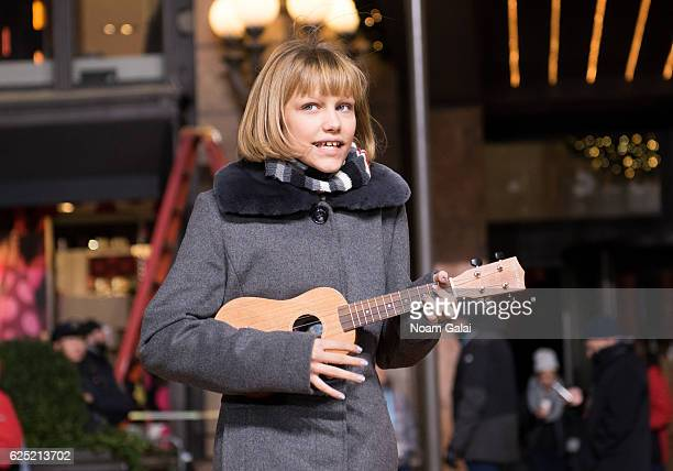 Singer Grace VanderWaal performs at the 90th anniversary Macy's Thanksgiving day parade rehearsals at Macy's Herald Square on November 22 2016 in New...