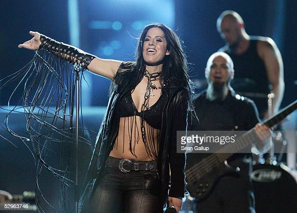 Singer Gracia of Germany performs at the Eurovision Song Contest Grand Final at Palace Of Sports on May 21 2005 in Kiev Ukraine This year is the 50th...