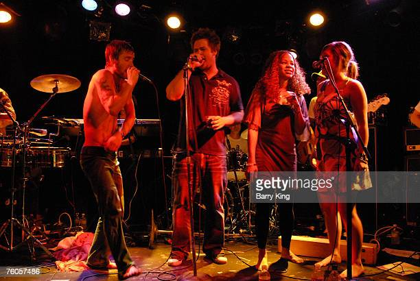 Singer Greg Cipes of Cipes and The People, producer Greg Whitman, singer Tracy Nicole Chapman and singer Jaclyn Whitman perform in concert at the...