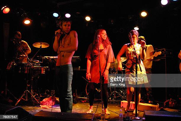 Singer Greg Cipes of Cipes and The People, singer Tracy Nicole Chapman and singer Jaclyn Whitman perform in concert at the Viper Room on August 8,...