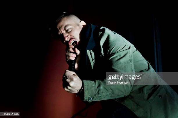 Singer Greg Puciato of the American band The Dillinger Escape Plan perform live during a concert at the Columbia Theater on February 10 2017 in...