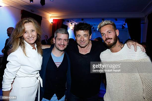 Singer Gregoire Boissenot alias Gregoire with his wife Eleonore de Galard singer Patrick Bruel and Matt Pokora alias M Pokora attend the Concert of...
