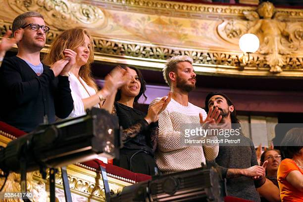 Singer Gregoire Boissenot alias Gregoire with his wife Eleonore de Galard and Matt Pokora alias M Pokora attend the Concert of Patrick Bruel at...