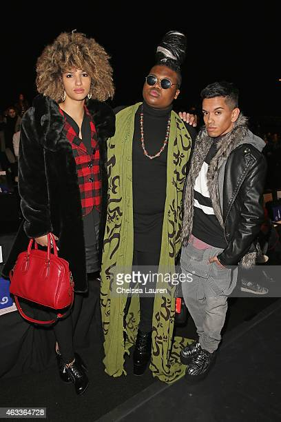 Singer Gregori Lukas and guests attend the Mongol fashion show during Mercedes-Benz Fashion Week Fall 2015 at The Theatre at Lincoln Center on...