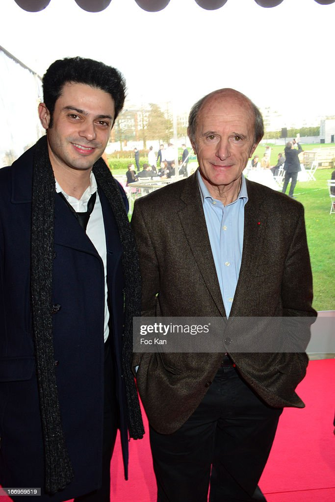 Singer Gregory Bakian and explorer Jean Louis Etienne attend the Launch of the new Paris Observatory Atmospheric Generali Balloon, at Parc Andre Citroen on April 18, 2013 in Paris, France.