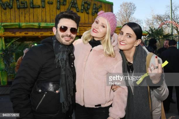 Singer Gregory Bakian Tatiana Laurens Delarue model/writer Sylvie Ortega Munos attend the Foire du Trone Opening At Pelouse de Reuilly on March 30...