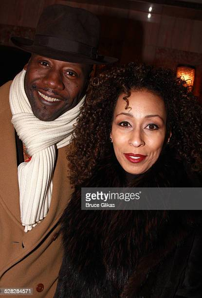 Singer Gregory Generet and wife Actress Tamara Tunie pose as they arrive at The Opening Night for The Steppenwolf Theater Company's August Osage...