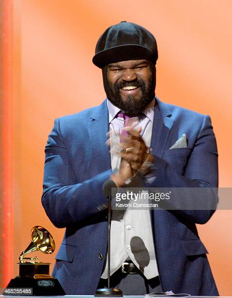 Singer Gregory Porter accepts the Best Jazz Vocal Album award for 'Liquid Spirit' onstage during the 56th GRAMMY Awards PreTelecast Show at Nokia...