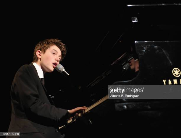 Singer Greyson Chance performs at The ACLU of Southern California's 2011 Bill of Rights Dinner at the Beverly Wilshire Four Seasons Hotel on December...