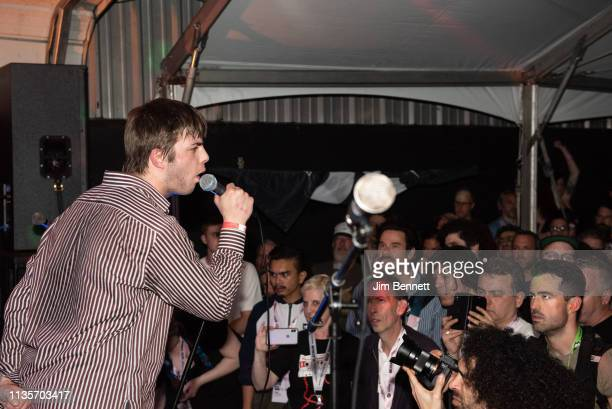 Singer Grian Chatten of Fontaines D.C. Performs live on stage during the 2019 SXSW Conference and Festival at the Swan Dive on March 13, 2019 in...