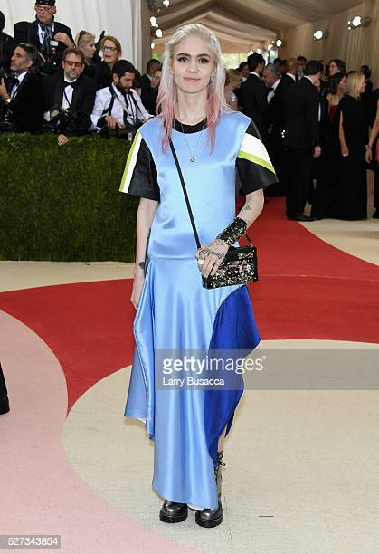 Singer Grimes attends the Manus x Machina Fashion In An Age Of Technology Costume Institute Gala at Metropolitan Museum of Art on May 2 2016 in New...