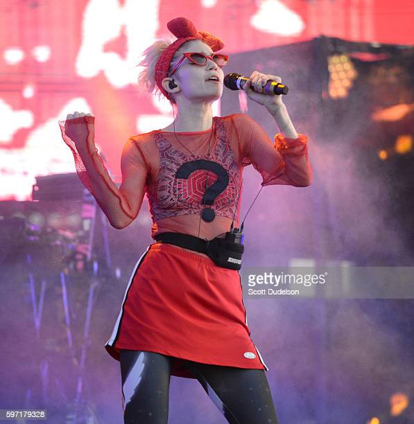 Singer Grimes performs onstage during FYF Festival at Los Angeles Sports Arena on August 27 2016 in Los Angeles California