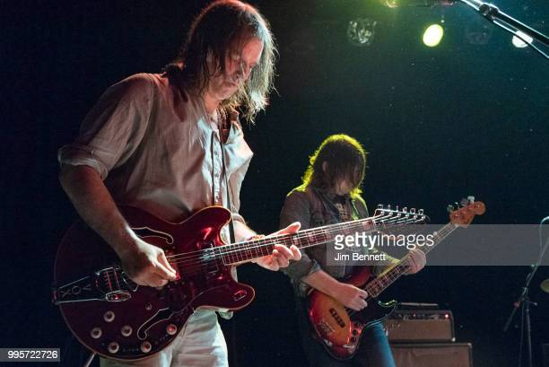 Singer guitarist and founding member Anton Newcombe and bassist Collin Hegna of The Brian Jonestown Massacre perform live on stage at The Showbox on...