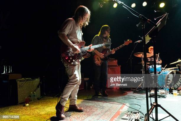 Singer guitarist and founding member Anton Newcombe bassist Collin Hegna and drummer Dan Allaire of The Brian Jonestown Massacre perform live on...