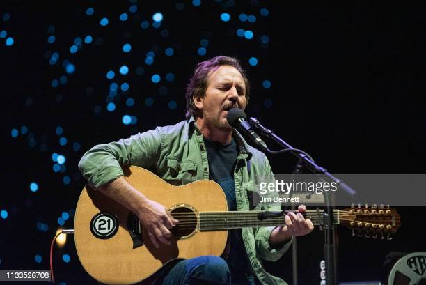 Singer guitarist and songwriter Eddie Vedder of Pearl Jam performs live on stage during Innings Festival at Tempe Beach Park on March 03 2019 in...