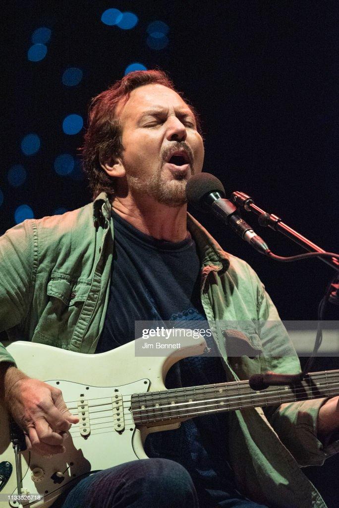 Singer, guitarist and songwriter Eddie Vedder of Pearl Jam performs