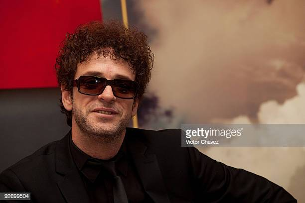 Singer Gustavo Cerati poses to photographers during the launch of his new album Fuerza Natural at Hotel Presidente Intercontinental on September 3...