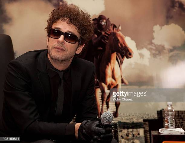 Singer Gustavo Cerati speaks during a press conference for the launch of his new album 'Fuerza Natural' at Hotel Presidente Intercontinental on...