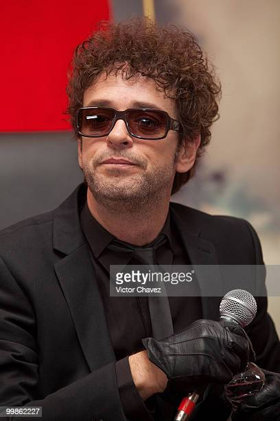 Singer Gustavo Cerati speaks during a press conference for the launch of his new album Fuerza Natural at Hotel Presidente Intercontinental on...