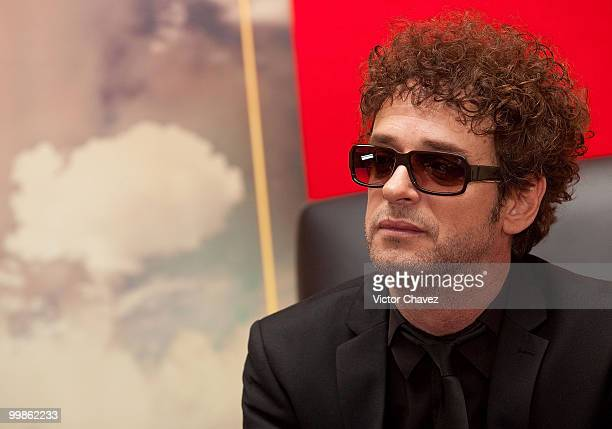 """Singer Gustavo Cerati speaks during a press conference for the launch of his new album """"Fuerza Natural"""" at Hotel Presidente Intercontinental on..."""