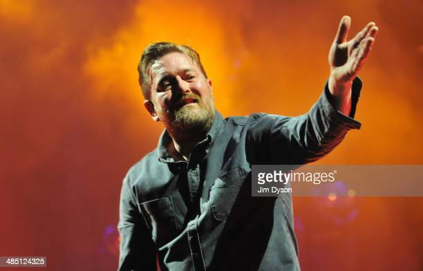 Singer Guy Garvey of Elbow performs live on stage at the O2 Arena on April 16 2014 in London United Kingdom