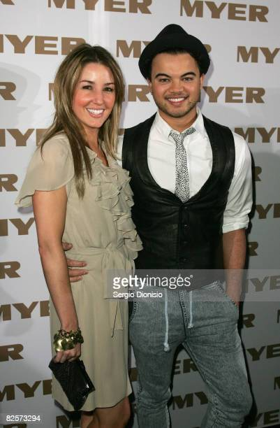 Singer Guy Sebastian and his wife Jules Egan arrive at the Myer Spring Summer Fashion Launch 2009 at Byron Kennedy Hall Moore Park on August 27 2008...