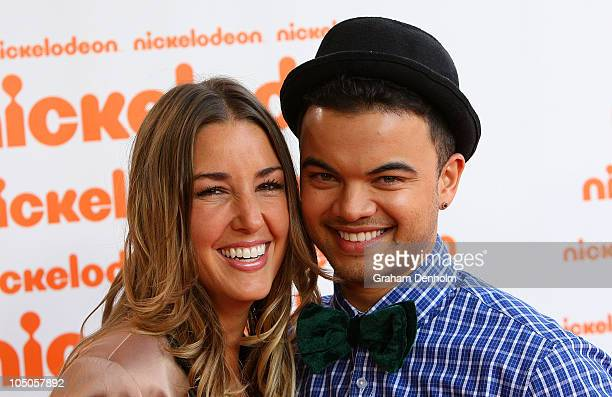 Singer Guy Sebastian and his wife Jules Egan arrive for the Australian Nickelodeon Kids' Choice Awards 2010 at the Sydney Entertainment Centre on...