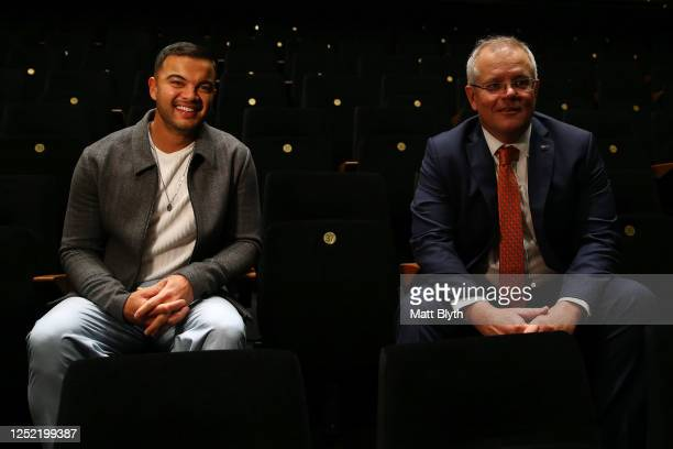 Singer Guy Sebastian and Prime Minister Scott Morrison pose for a photo on a tour of the Sydney Coliseum Theatre at West HQ on June 25, 2020 in...