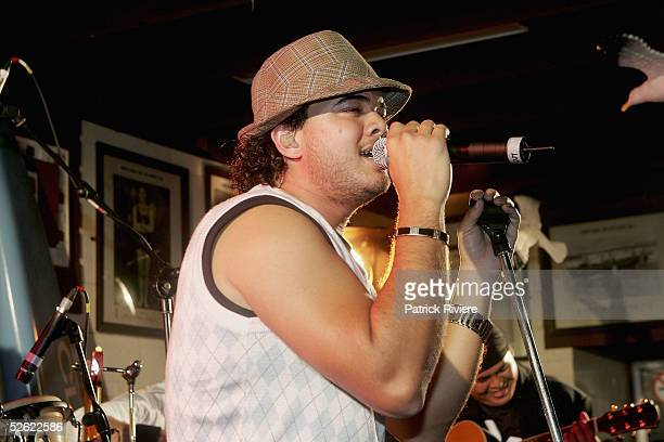 Singer Guy Sebastian performs at the Cleo Centrefold sizzling VIP and Celebrity BBQ at the North Bondi Surf Life Saving Club on April 13, 2005 in...