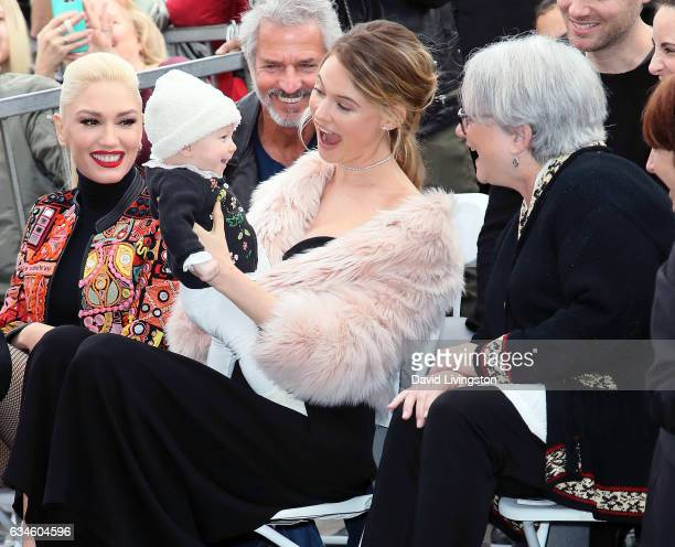 Singer Gwen Stefani Adam Levine's wife model Behati Prinsloo with her daughter and Adam Levine's mother Patsy Noah attend Adam Levine being honored...