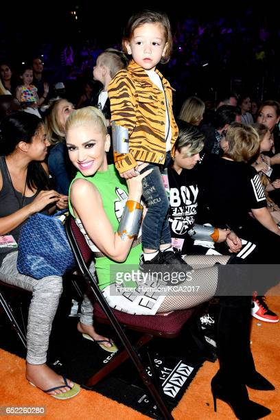 Singer Gwen Stefani and Apollo Bowie Flynn Rossdale in the audience at Nickelodeon's 2017 Kids' Choice Awards at USC Galen Center on March 11 2017 in...