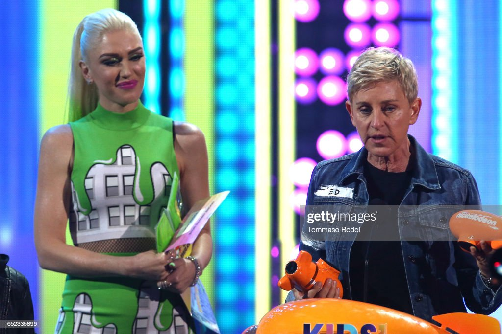 Singer Gwen Stefani and comedian Ellen DeGeneres onstage at the Nickelodeon's 2017 Kids' Choice Awards at USC Galen Center on March 11, 2017 in Los Angeles, California.