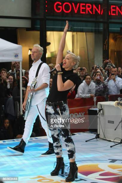 Singer Gwen Stefani and her group No Doubt reunite to perform on NBC's The Today Show at Dean Deluca Plaza at Rockefeller Center on May 1 2009 in New...