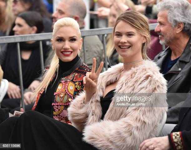Singer Gwen Stefani and model Behati Prinsloo attend the ceremony honoring Adam Levine with star on the Hollywood Walk of Fame on February 10 2017 in...