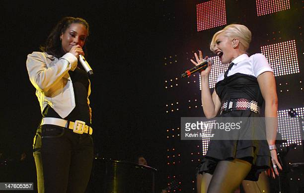 Singer Gwen Stefani and Musician Alicia Keys perform at Conde Nast Media Group's 4th Annual 'Black Ball' Concert for 'Keep A Child Alive' at...