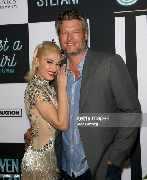Singer Gwen Stefani and recording artist Blake Shelton attend the grand opening of the Gwen Stefani Just a Girl residency at Planet Hollywood Resort...