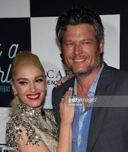 Singer Gwen Stefani and recording artist Blake Shelton attend the grand opening of her Gwen Stefani Just a Girl residency at Planet Hollywood Resort...