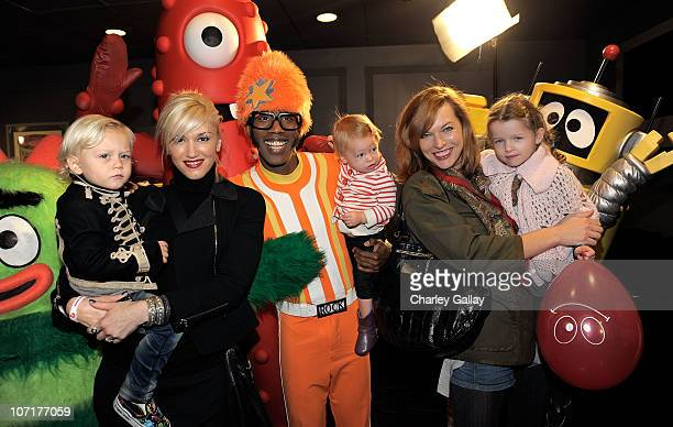 Singer Gwen Stefani and son Zuma Rossdale DJ Lance Rock with Gwen Stefani's neice Stella Stefani and actress Milla Jovovich with her daughter Ever...