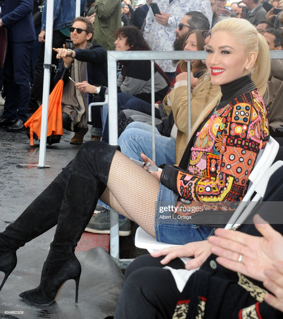 Singer Gwen Stefani at the Adam Levine Star On The Hollywood Walk Of Fame Ceremoney on February 10, 2017 in Hollywood, California.