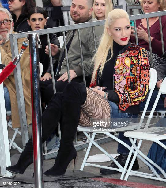 Singer Gwen Stefani attends Adam Levine being honored with a Star on the Hollywood Walk of Fame on February 10 2017 in Hollywood California